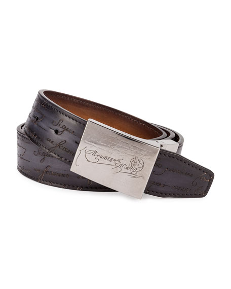 Berluti Scritto Leather Belt, Black/Brown