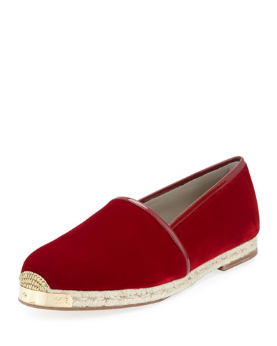Velvet Slip-On Espadrille, Burgundy