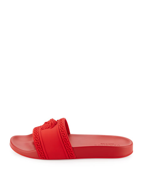 Medusa-Head Slide Sandal, Red