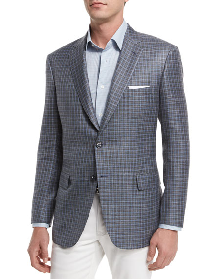 Brioni Check Two-Button Sport Coat, Taupe