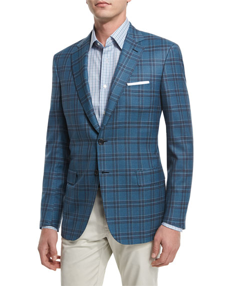 Brioni Plaid Two-Button Wool Sport Coat, Pavone Check