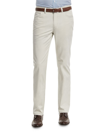 Five-Pocket Stretch Pants, Light Gray