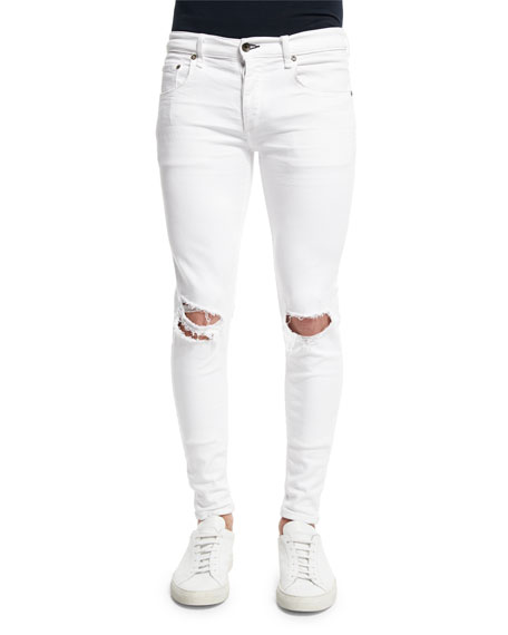Rag & Bone Low-Rise Distressed Skinny Jeans, White