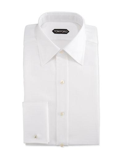 Classic French-Cuff Slim-Fit Dress Shirt, White