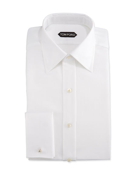 TOM FORD Classic French-Cuff Slim-Fit Dress Shirt, White