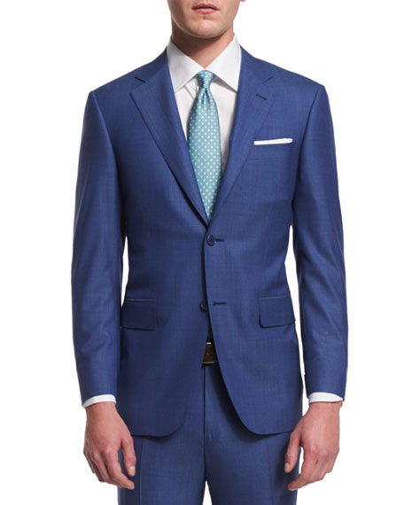 Canali Sienna Contemporary-Fit Micro Tic-Stripe Suit, Blue