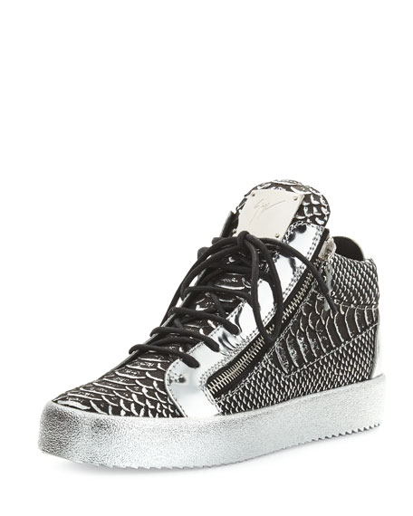 Men's Textured Metallic Leather Mid-Top Sneaker, Black/Silver