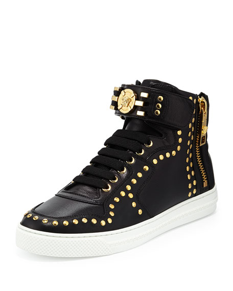 Versace Leather High-Top Sneaker with Gold Medallion, Black