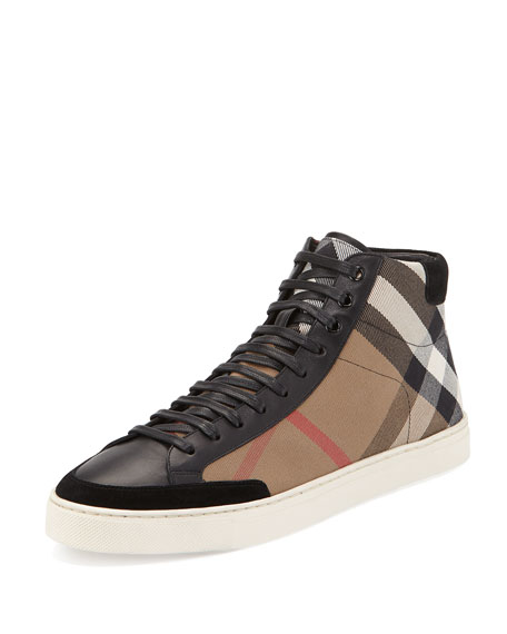 Burberry Painton Men's Check High-Top Sneaker, Black