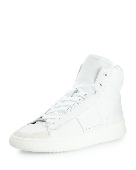 Burberry Walbrook High-Top Leather Sneaker, White