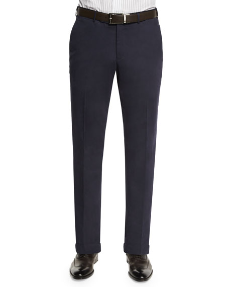 Cashmere-Blend Solid Trousers, Blue