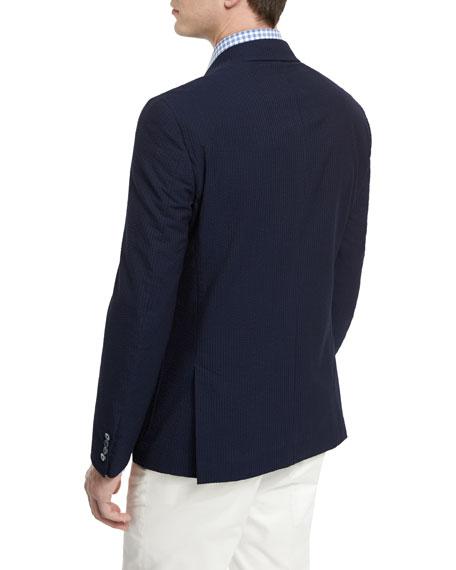 Isaia Seersucker Two-Button Sport Coat, Navy