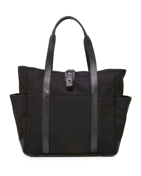 ShinolaLeather-Trim Canvas Utility Tote Bag, Black