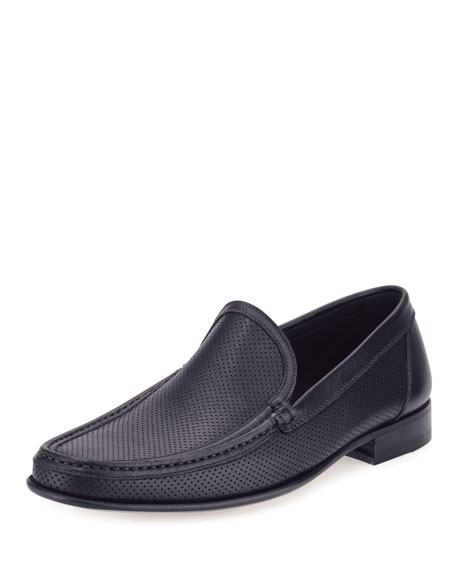 a.testoni Perforated Leather Sport Moccasin, Navy