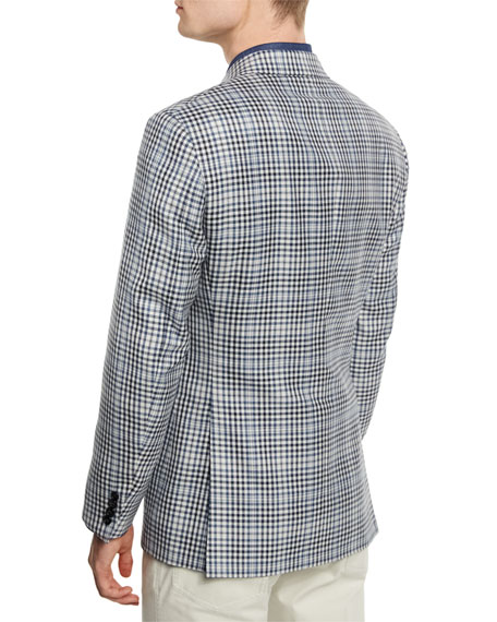 Plaid Two-Button Silk-Blend Jacket, Black/White