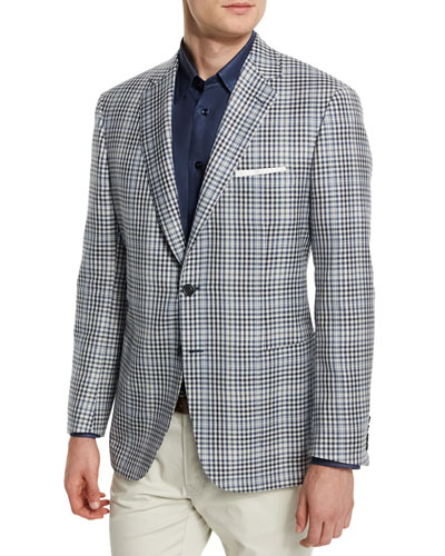 Plaid Two-Button Silk-Blend Jacket, Black/White