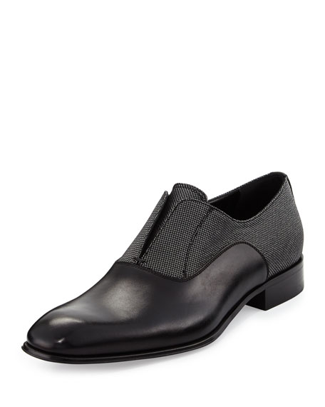 Salvatore Ferragamo Gene 2 Calfskin and Metallic Fabric
