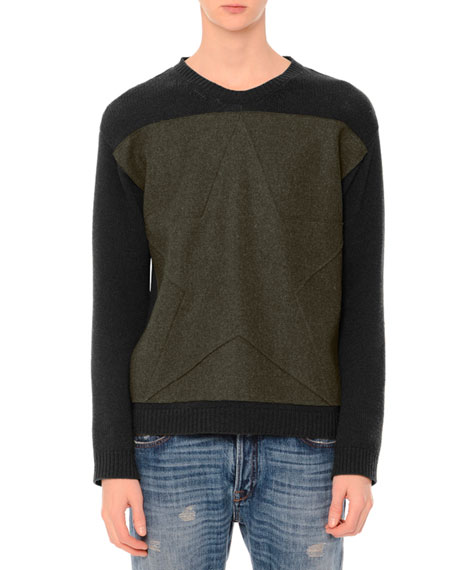 Valentino Tonal-Star Patch Colorblock Crewneck Sweater, Army