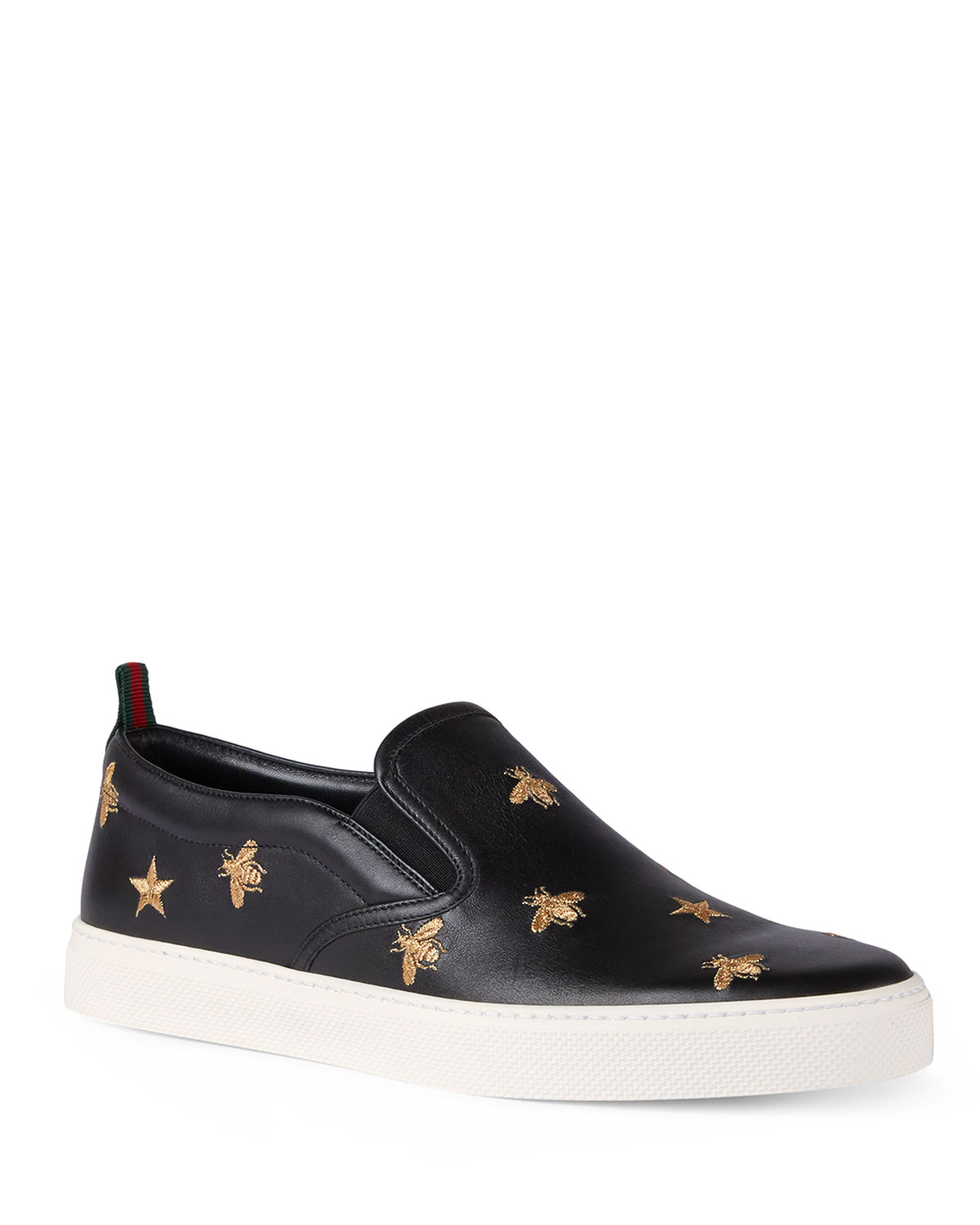 d4513901b2a Gucci Men s Dublin Bee   Star Embroidered Leather Slip-On Sneakers ...