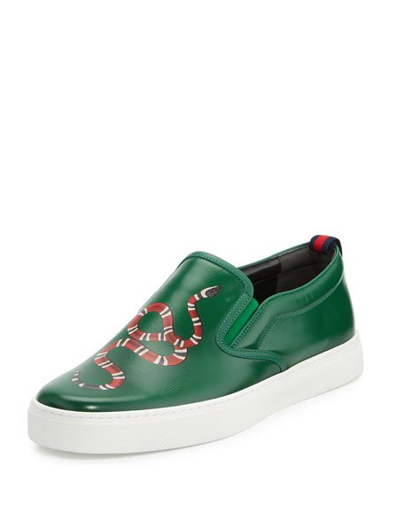 Gucci Dublin Snake-Print Leather Slip-On Sneaker