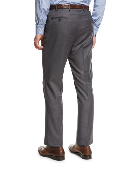 Kiton Flat-Front Twill Trousers, Charcoal