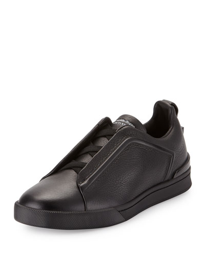 Grained Leather Slip-On Sneaker, Black