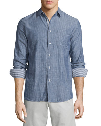 Beach Tonal-Stripe Sport Shirt, Navy