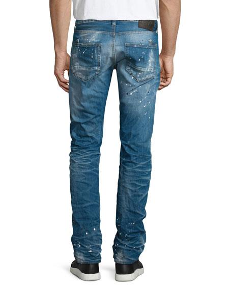 Demon Paint-Splatter Faded Denim Jeans, Medium Blue