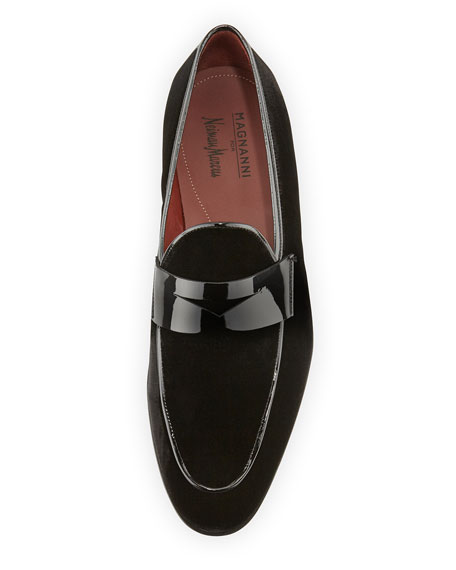 Magnanni for Neiman Marcus Velvet Formal Penny Loafer, Black