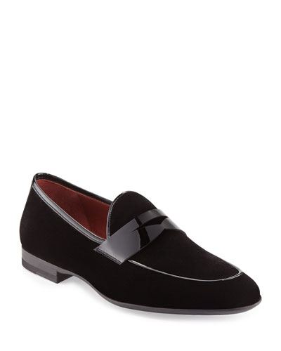 Velvet Formal Penny Loafer  Black