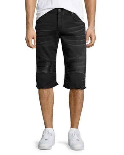 Rocco Active Slim-Fit Moto Shorts, Black