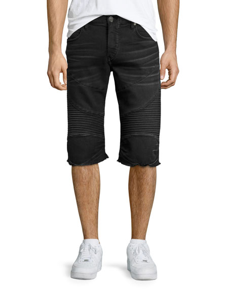 True Religion Rocco Active Slim-Fit Moto Shorts, Black