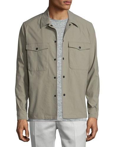 Drato Button-Front Shirt Jacket, Sidewalk