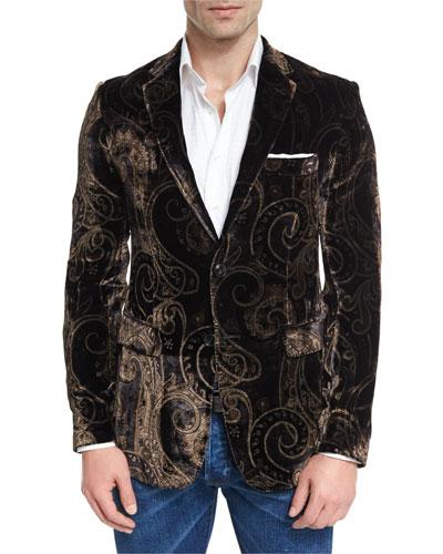 Paisley Velvet Evening Jacket, Black/Gold