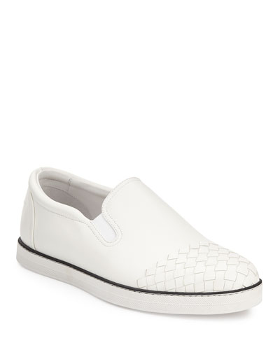 Woven-Toe Leather Skate Shoe, White