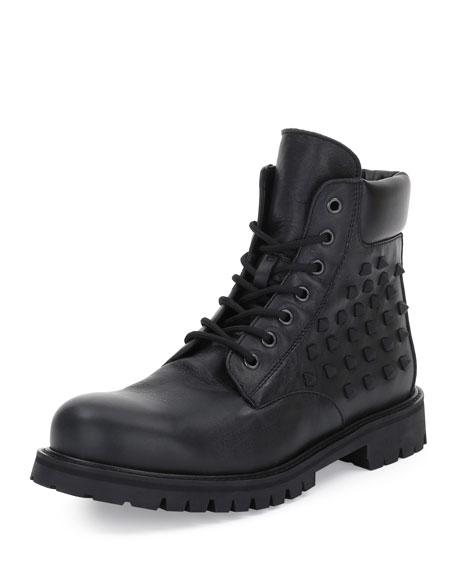 Rockstud Lace-Up Combat Boot, Black