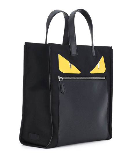 Monster Creature Tote Bag w/Leather Details, Black