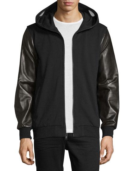 Daniel Won Leather-Sleeve Full-Zip Hoodie Jacket, Black