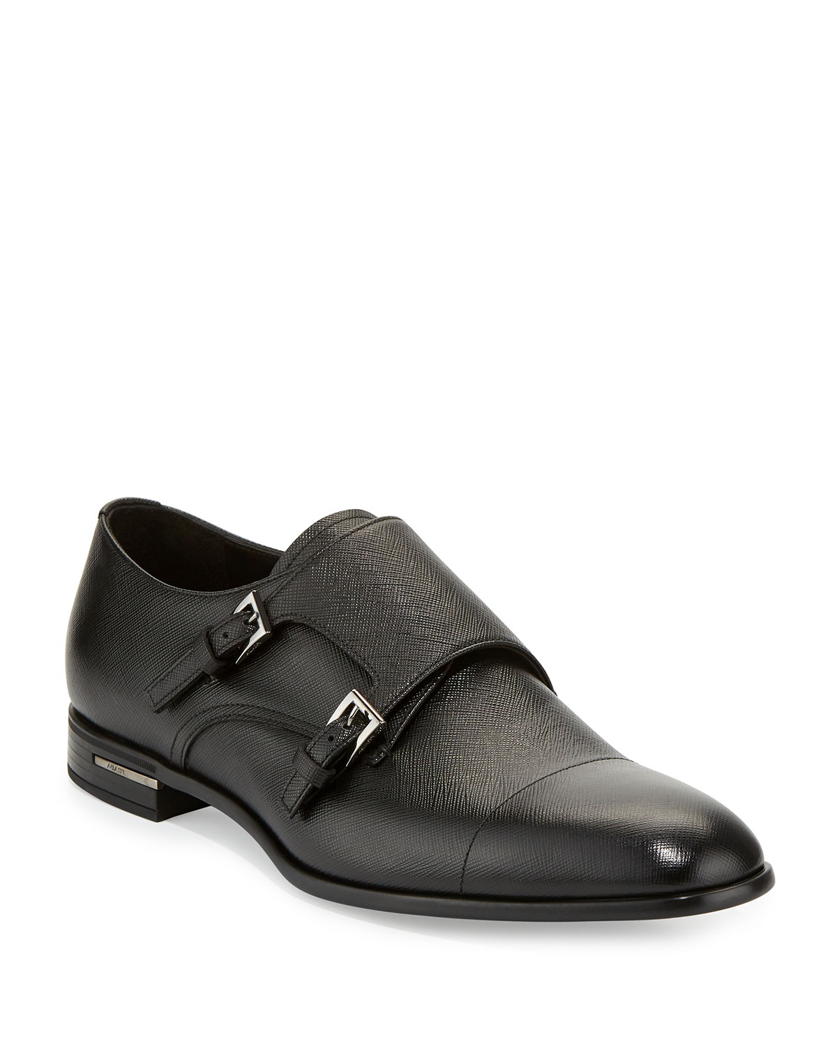 d159868968 Saffiano Leather Double-Monk Shoe, Black