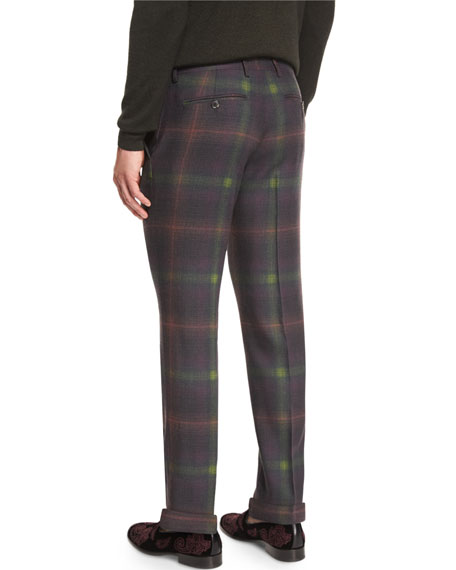 Plaid Flat-Front Trousers, Green/Burgundy