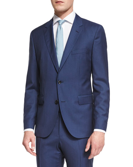 4e078efdb BOSS Johnstons Lennon Striped Slim-Fit Basic Suit, Blue | Neiman Marcus