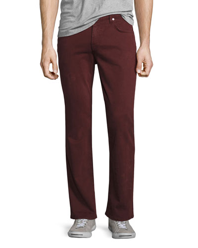 Luxe Performance: Straight-Leg Sateen Jeans, Chianti