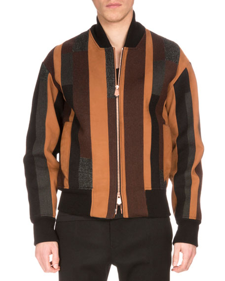 Berluti Striped Wool-Blend Bomber Jacket, Brown