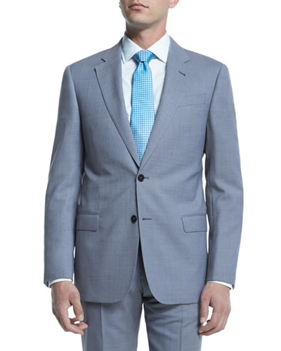 G-Line Melange Solid Two-Piece Suit, Light Blue