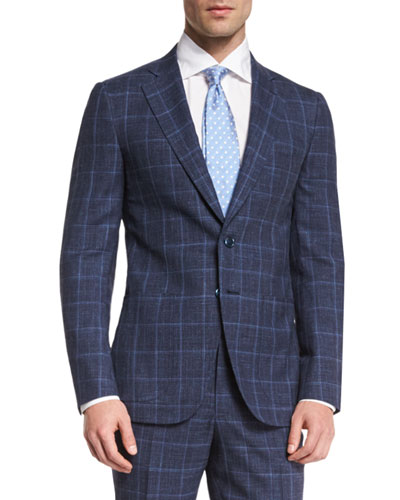 Gregory Melange Windowpane Two-Piece Suit, Navy
