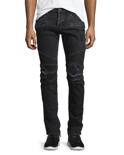 Blinder Biker Distressed Moto Jeans, Black