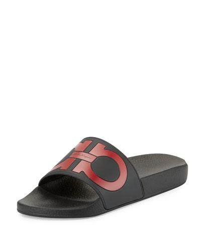 Groove Gancini Slide Sandal, Black/Red