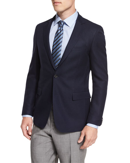 BOSS Roan Textured Modern-Fit Blazer, Navy