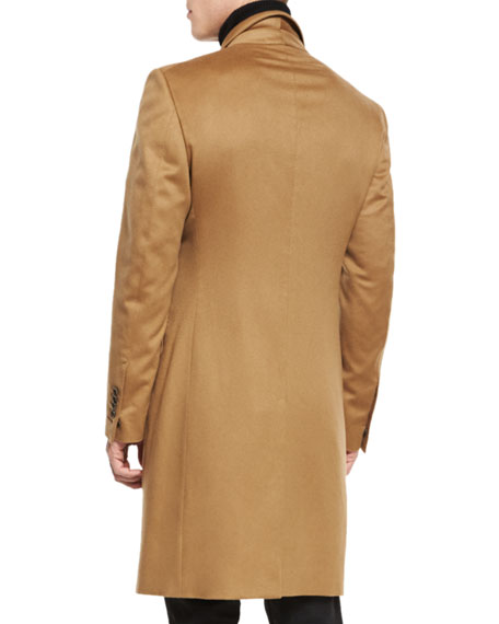 Classic Tailored Single-Breasted Top Coat, Camel