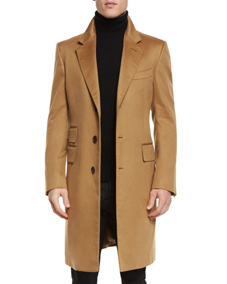 TOM FORD Classic Tailored Single-Breasted Top Coat, Camel